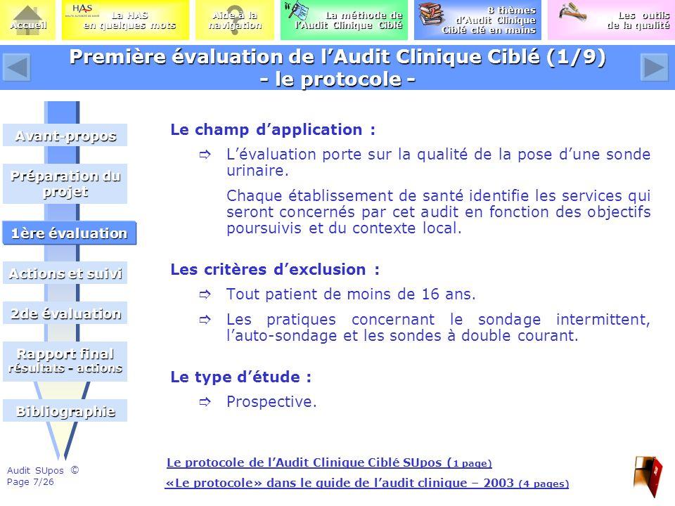 Première évaluation de l'Audit Clinique Ciblé (1/9) - le protocole -