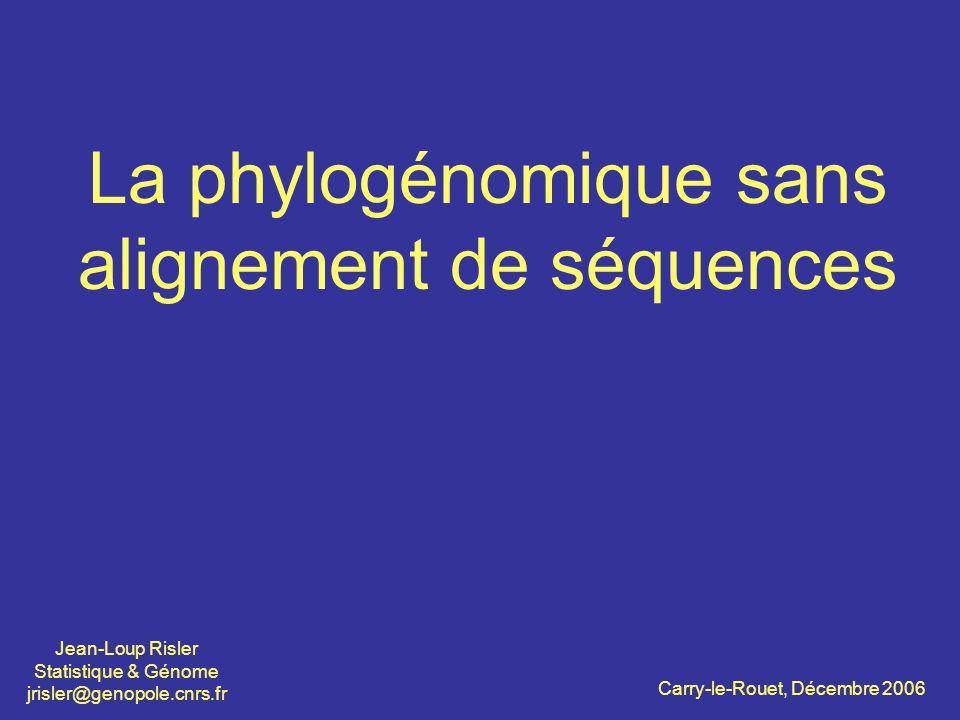 La phylogénomique sans alignement de séquences