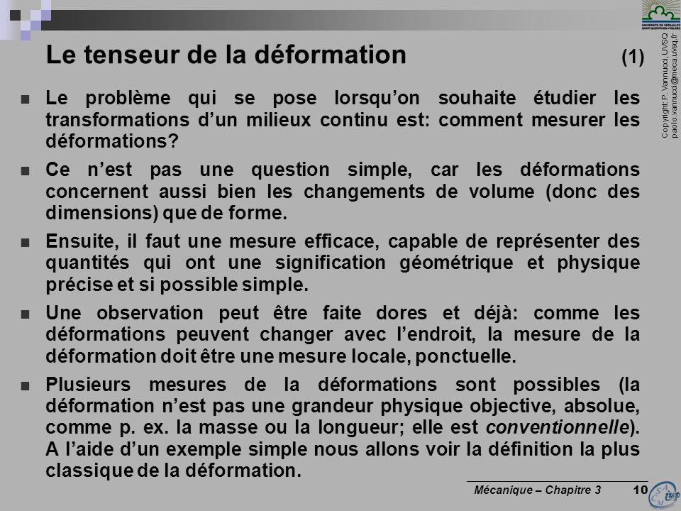 Le tenseur de la déformation (1)