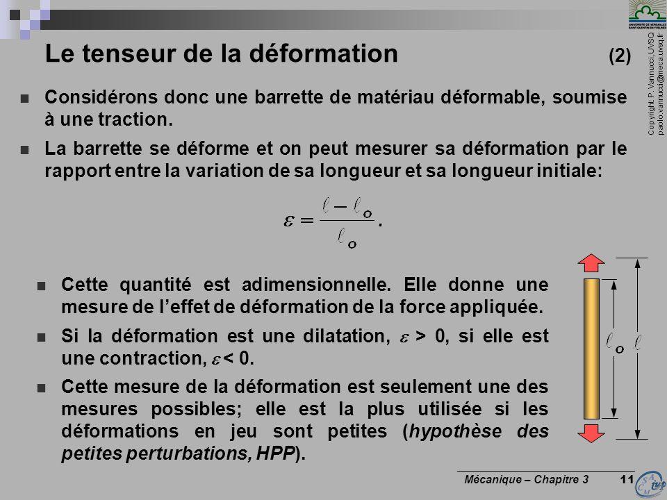 Le tenseur de la déformation (2)