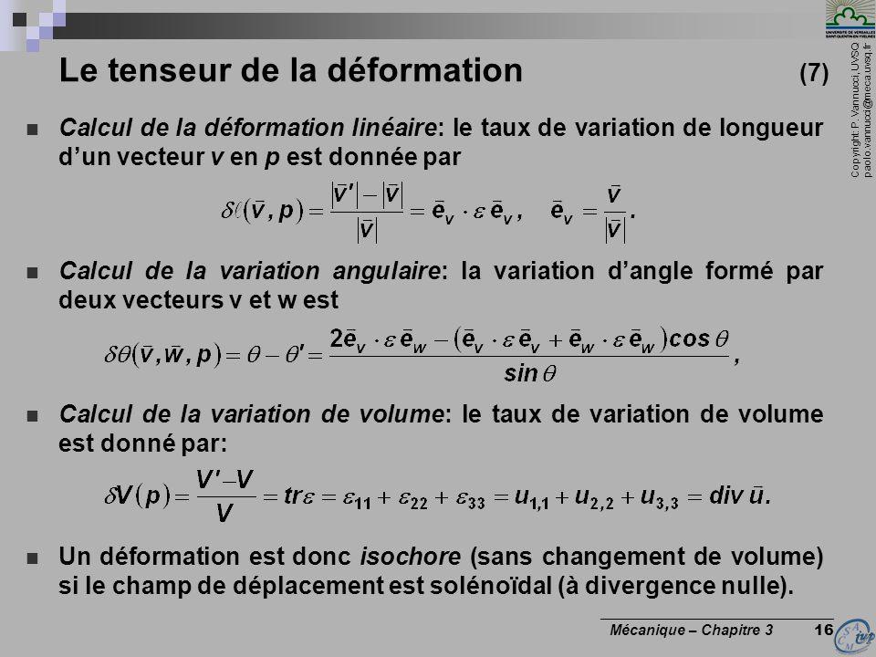 Le tenseur de la déformation (7)