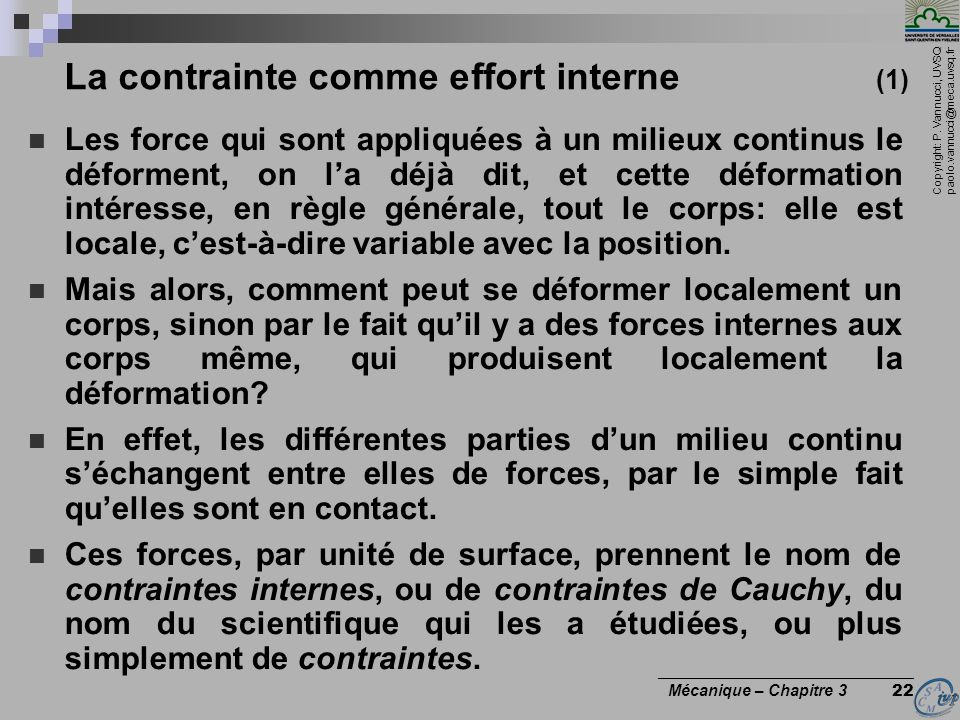 La contrainte comme effort interne (1)