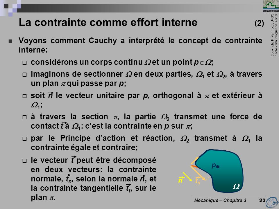 La contrainte comme effort interne (2)