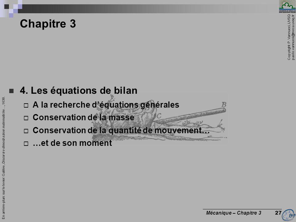 Chapitre 3 4. Les équations de bilan