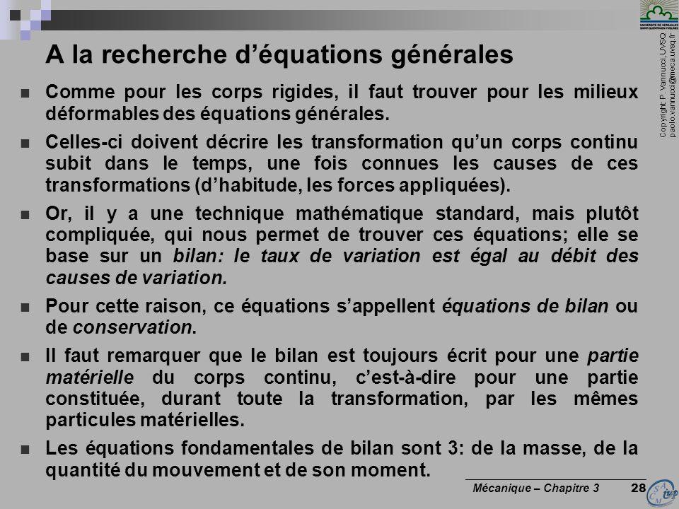 A la recherche d'équations générales