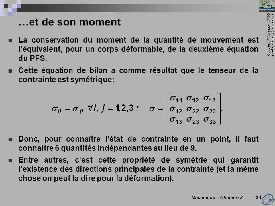 …et de son moment La conservation du moment de la quantité de mouvement est l'équivalent, pour un corps déformable, de la deuxième équation du PFS.