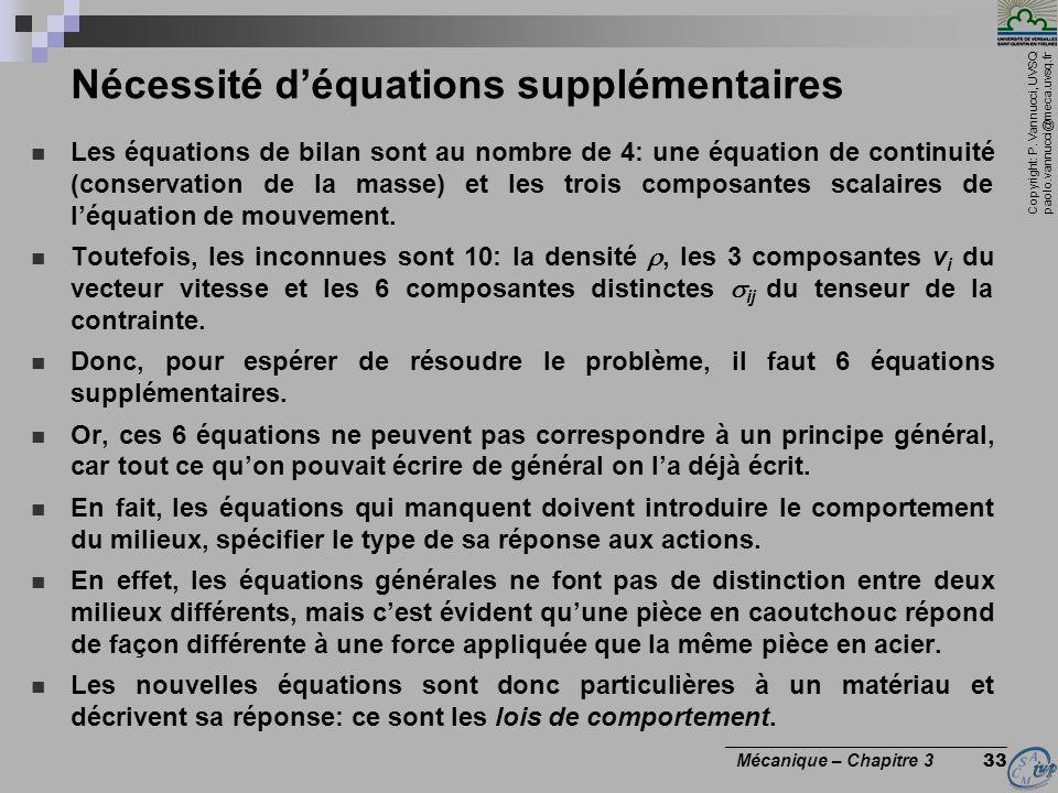 Nécessité d'équations supplémentaires