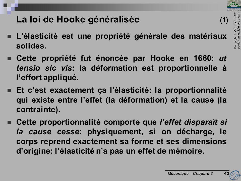 La loi de Hooke généralisée (1)