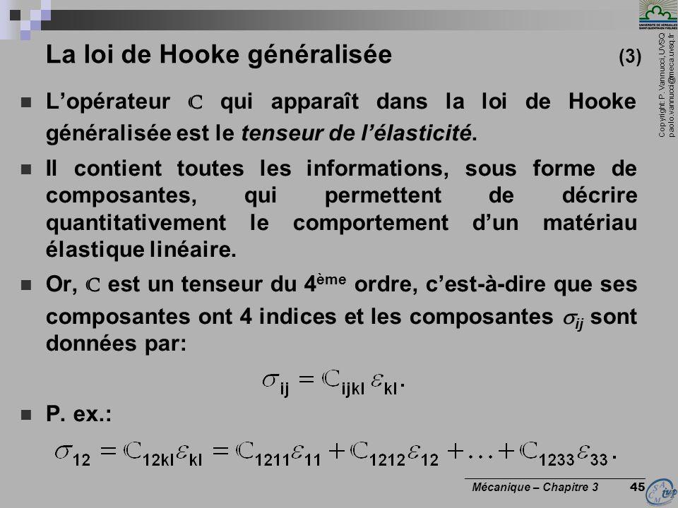 La loi de Hooke généralisée (3)