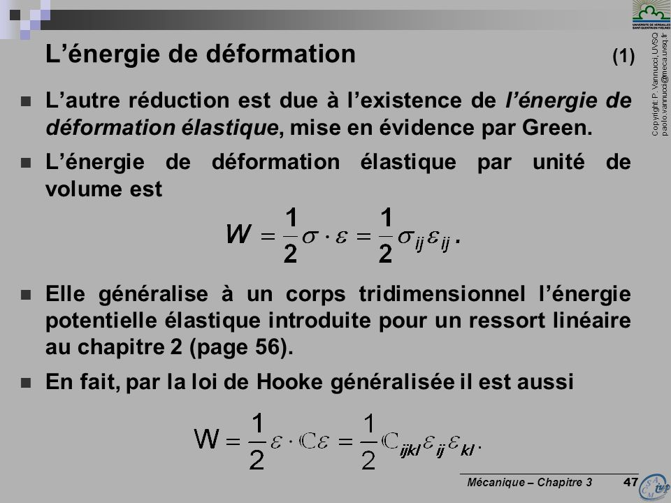 L'énergie de déformation (1)