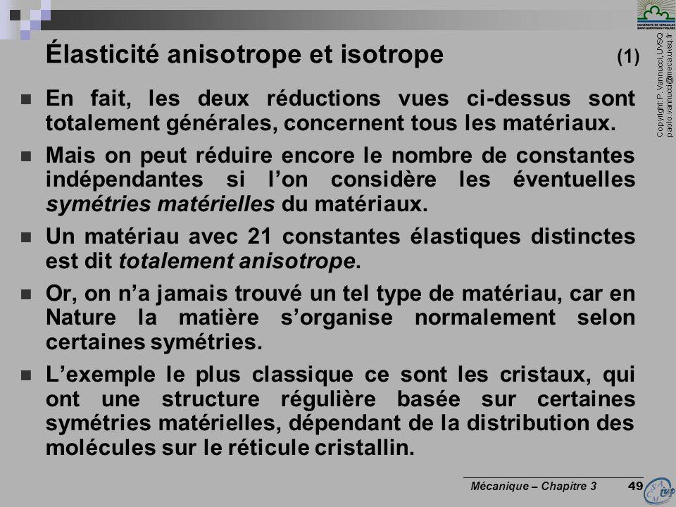 Élasticité anisotrope et isotrope (1)