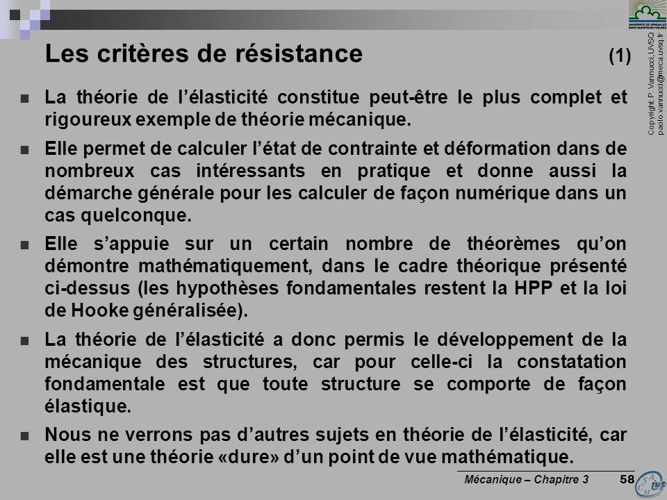 Les critères de résistance (1)