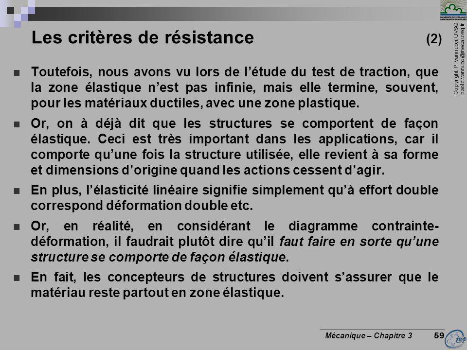 Les critères de résistance (2)
