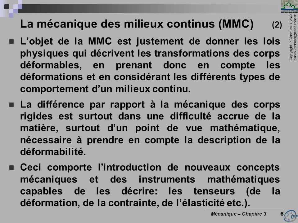 La mécanique des milieux continus (MMC) (2)
