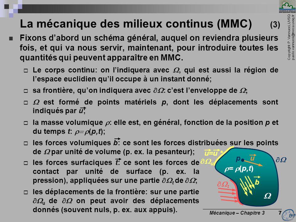 La mécanique des milieux continus (MMC) (3)