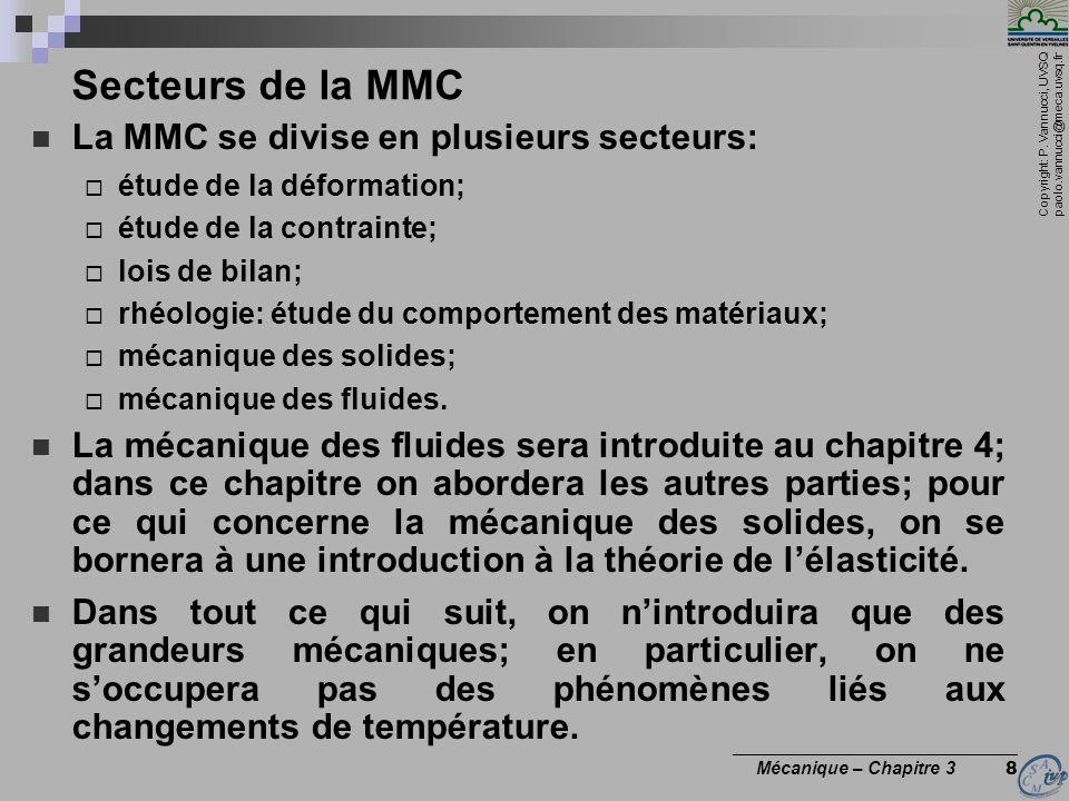 Secteurs de la MMC La MMC se divise en plusieurs secteurs: