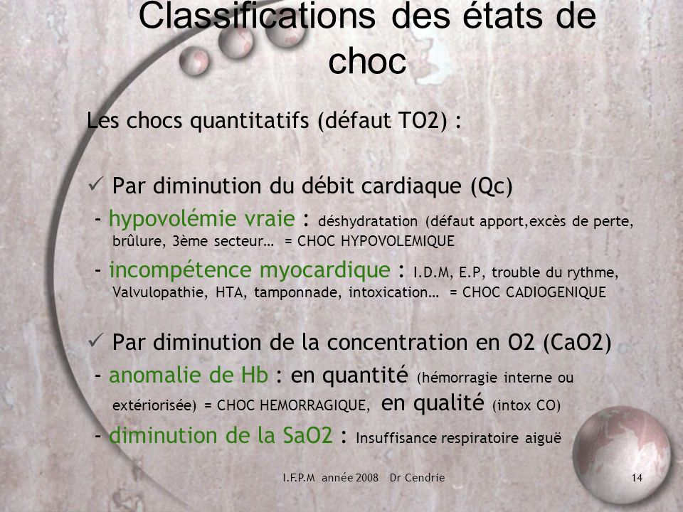 Classifications des états de choc