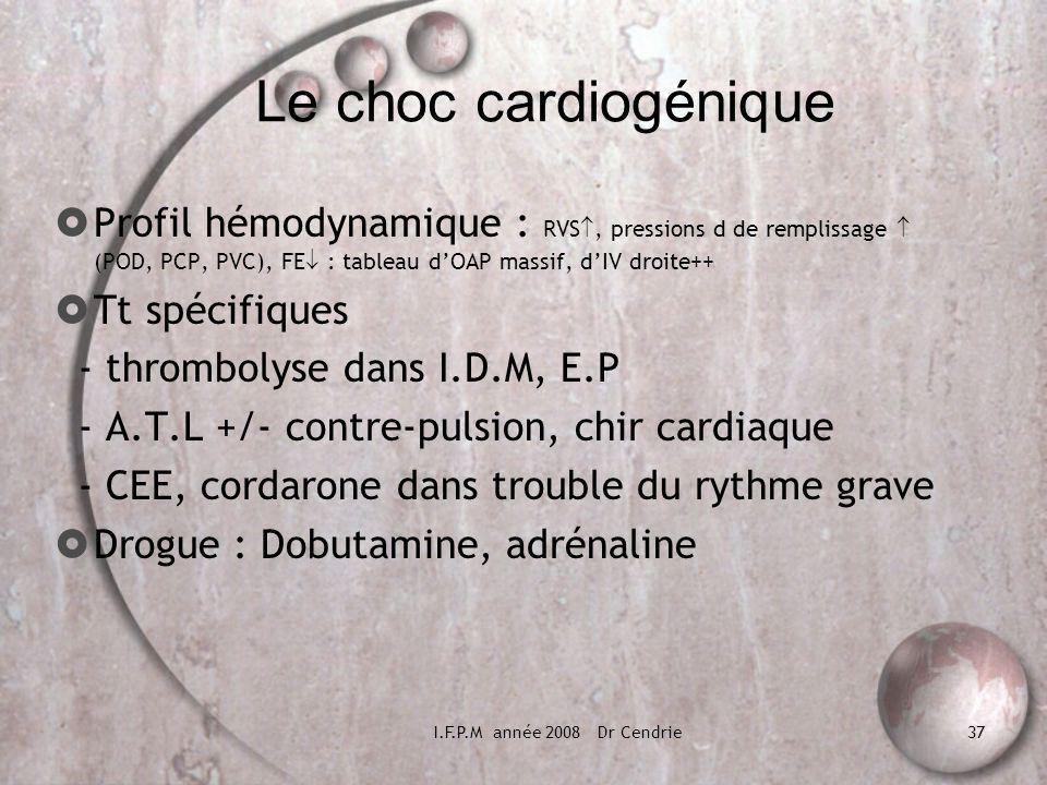 Le choc cardiogénique Profil hémodynamique : RVS, pressions d de remplissage  (POD, PCP, PVC), FE : tableau d'OAP massif, d'IV droite++