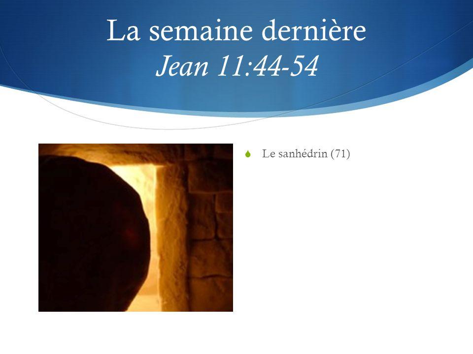 La semaine dernière Jean 11:44-54