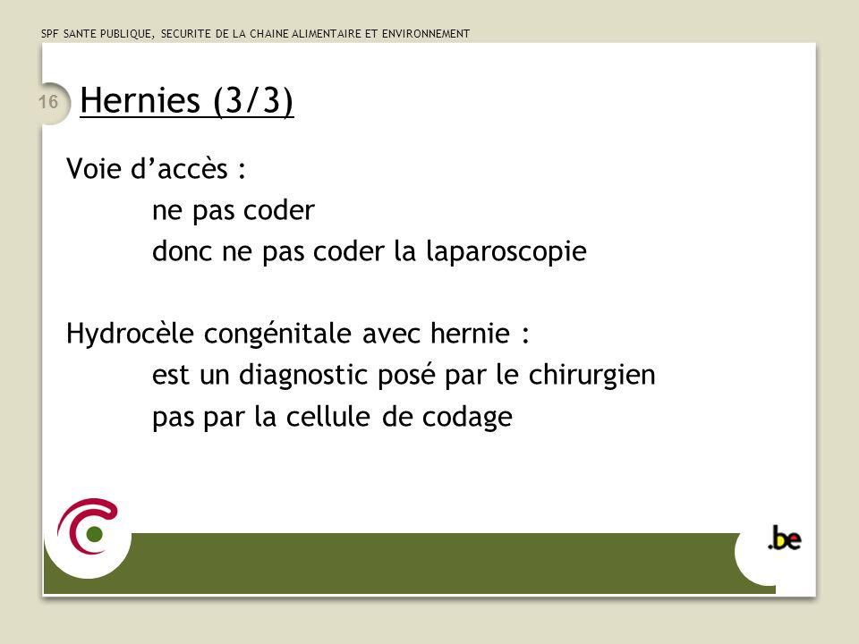 Hernies (3/3) Voie d'accès : ne pas coder