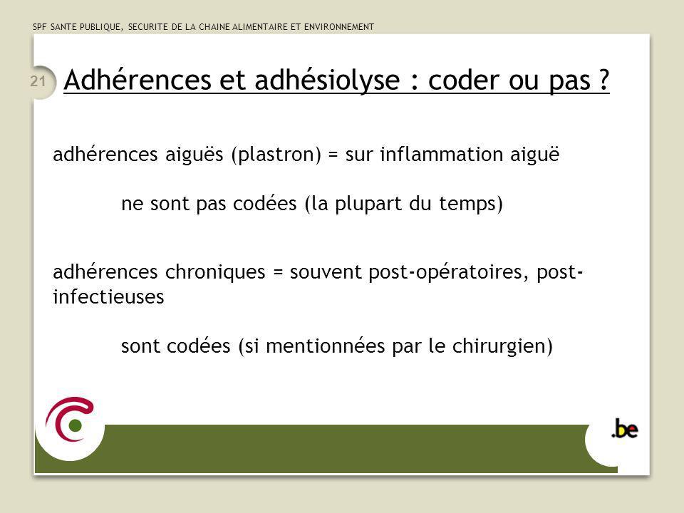 Adhérences et adhésiolyse : coder ou pas