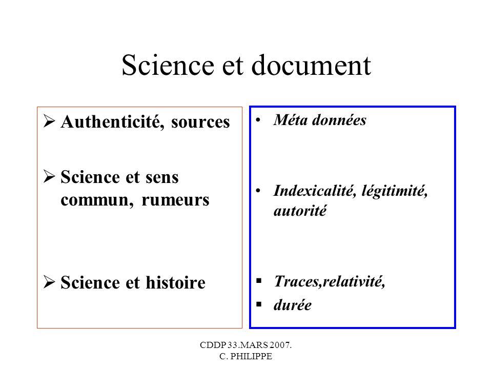 Science et document Authenticité, sources