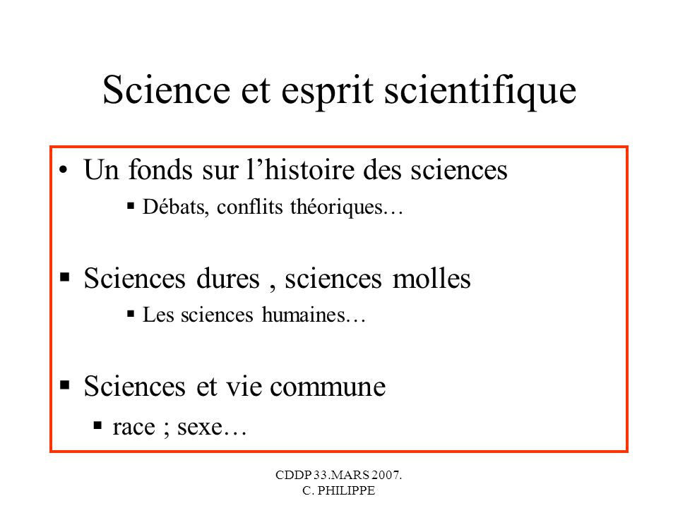 Science et esprit scientifique