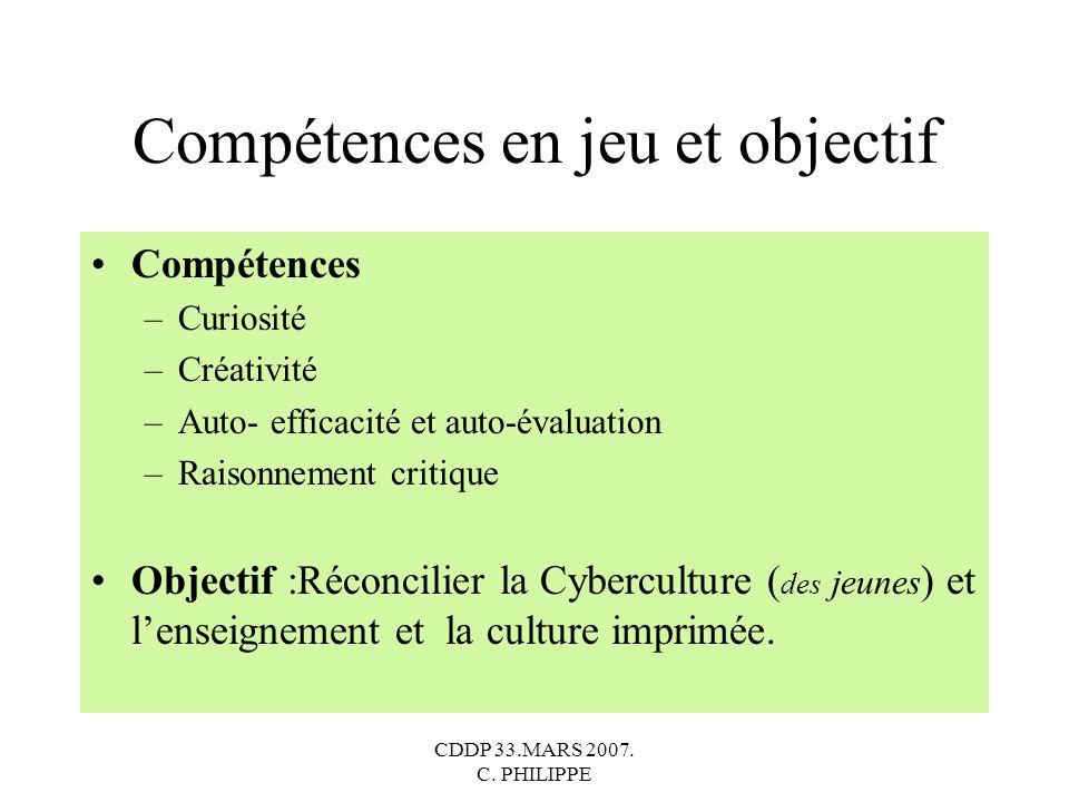 Compétences en jeu et objectif