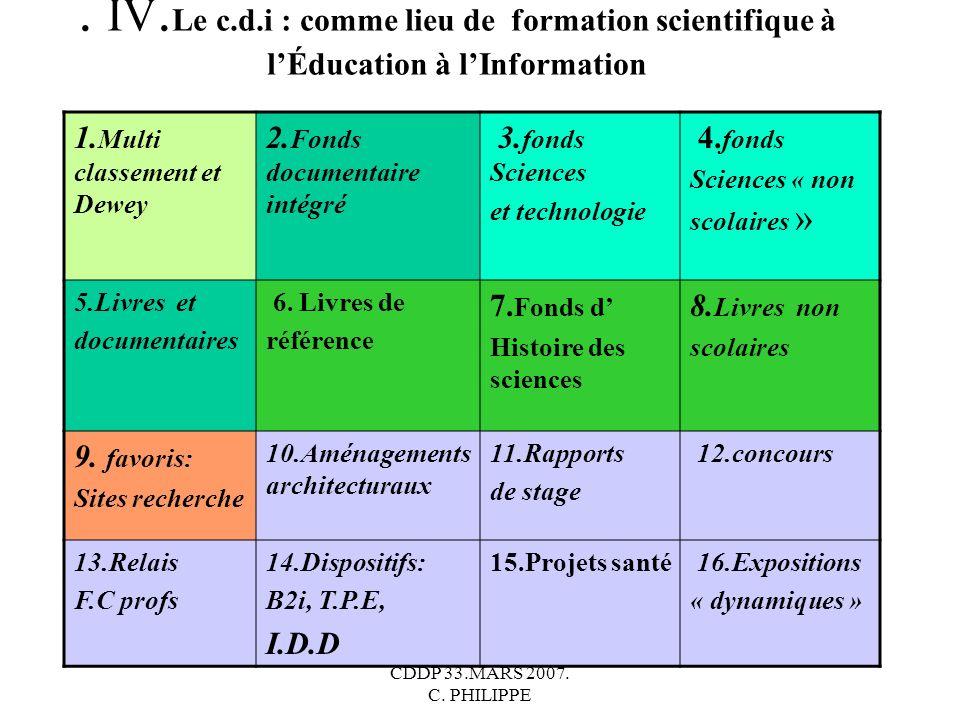 . IV.Le c.d.i : comme lieu de formation scientifique à l'Éducation à l'Information
