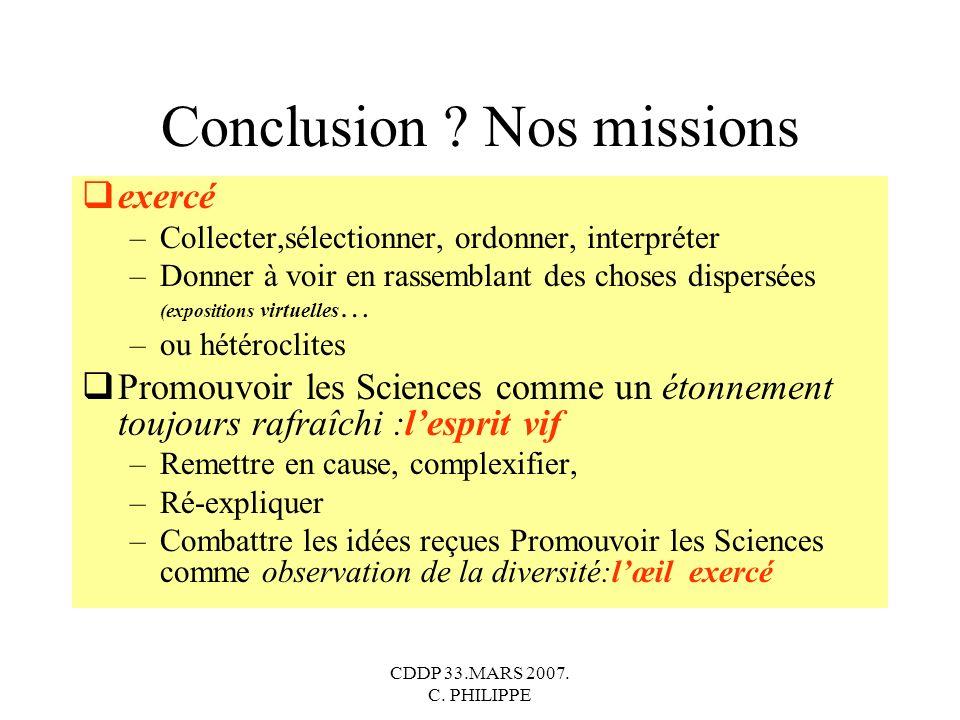 Conclusion Nos missions
