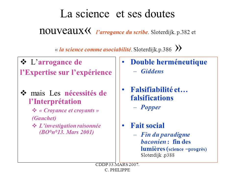 La science et ses doutes nouveaux« l'arrogance du scribe. Sloterdijk. p.382 et « la science comme asociabilité. Sloterdijk.p.386 »