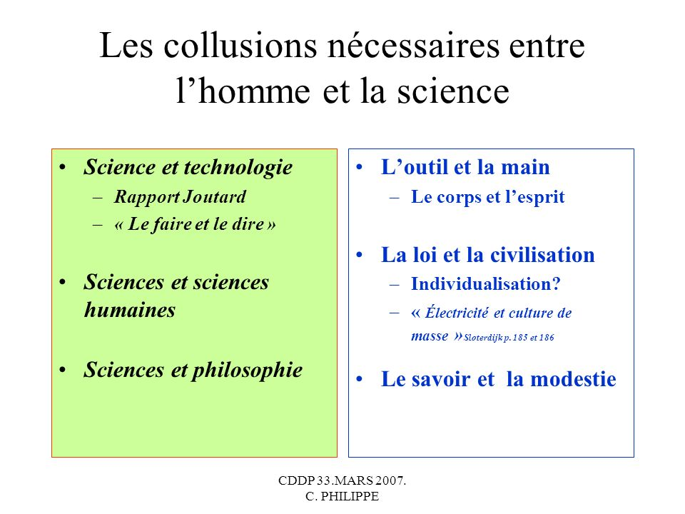 Les collusions nécessaires entre l'homme et la science