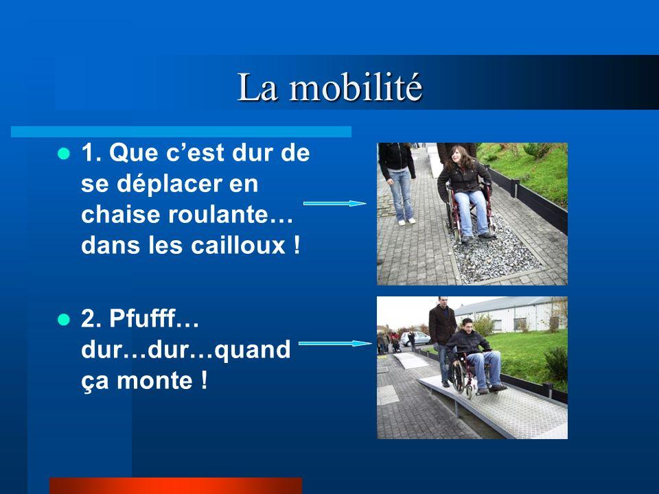 La mobilité 1. Que c'est dur de se déplacer en chaise roulante… dans les cailloux .