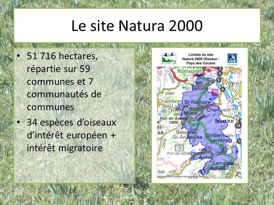 Le site Natura 2000 51 716 hectares, répartie sur 59 communes et 7 communautés de communes.