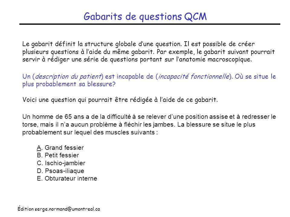 Gabarits de questions QCM
