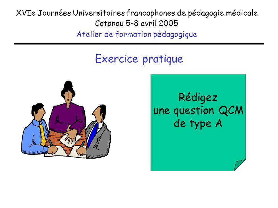 Exercice pratique Rédigez une question QCM de type A