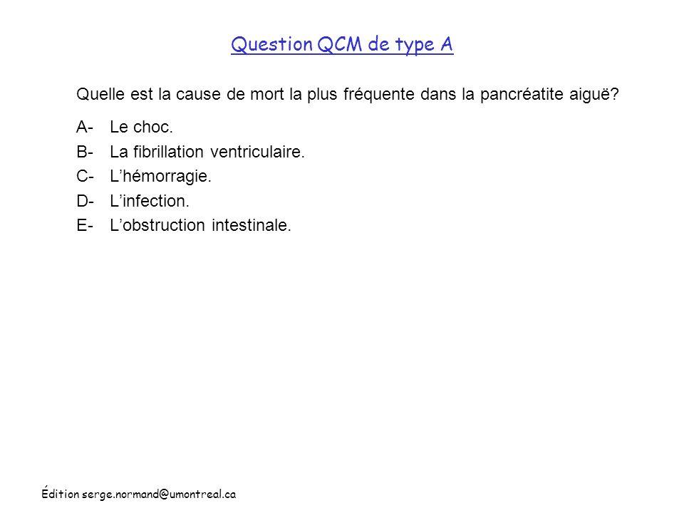 Question QCM de type A Quelle est la cause de mort la plus fréquente dans la pancréatite aiguë A- Le choc.