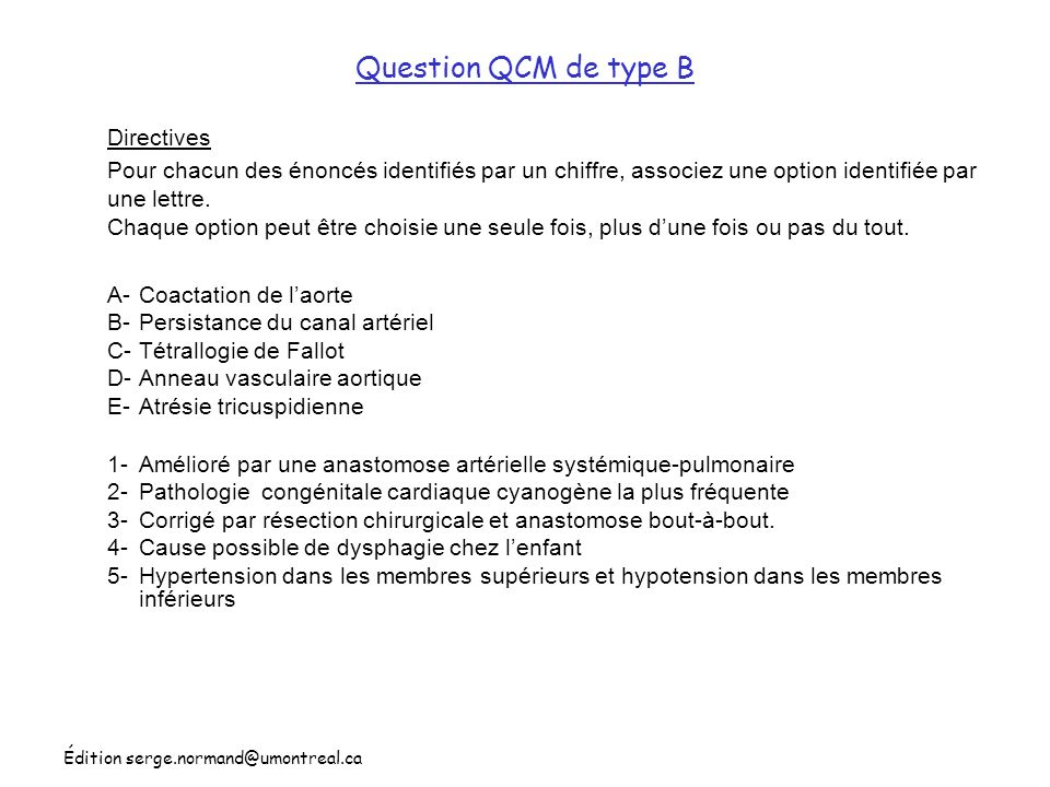 Question QCM de type B Directives