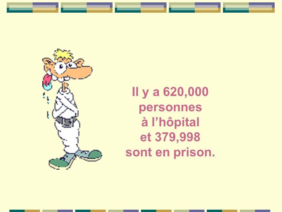 Il y a 620,000 personnes à l'hôpital et 379,998 sont en prison.