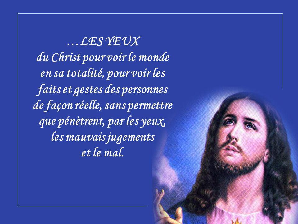 …LES YEUX du Christ pour voir le monde en sa totalité, pour voir les faits et gestes des personnes de façon réelle, sans permettre que pénètrent, par les yeux, les mauvais jugements et le mal.