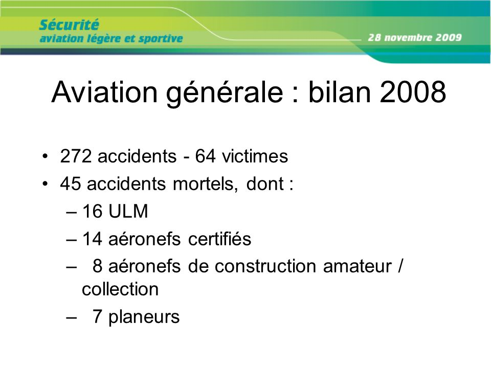 Aviation générale : bilan 2008