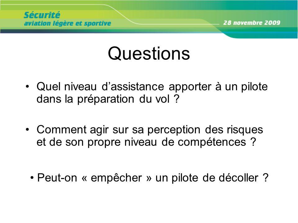 Questions Quel niveau d'assistance apporter à un pilote dans la préparation du vol