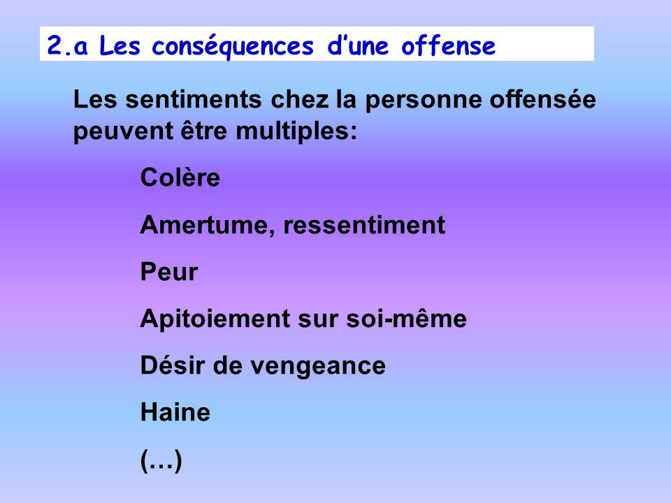 2.a Les conséquences d'une offense