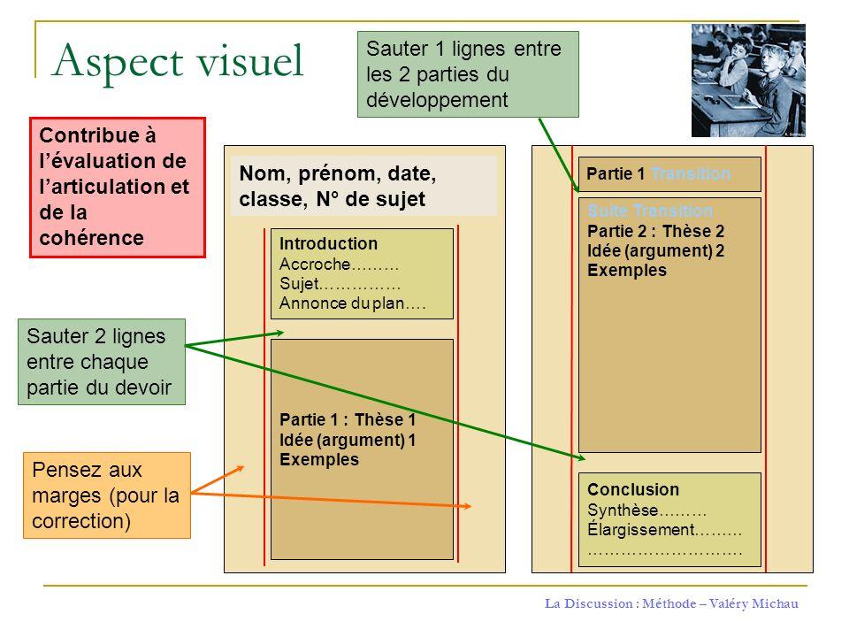 Aspect visuel Sauter 1 lignes entre les 2 parties du développement