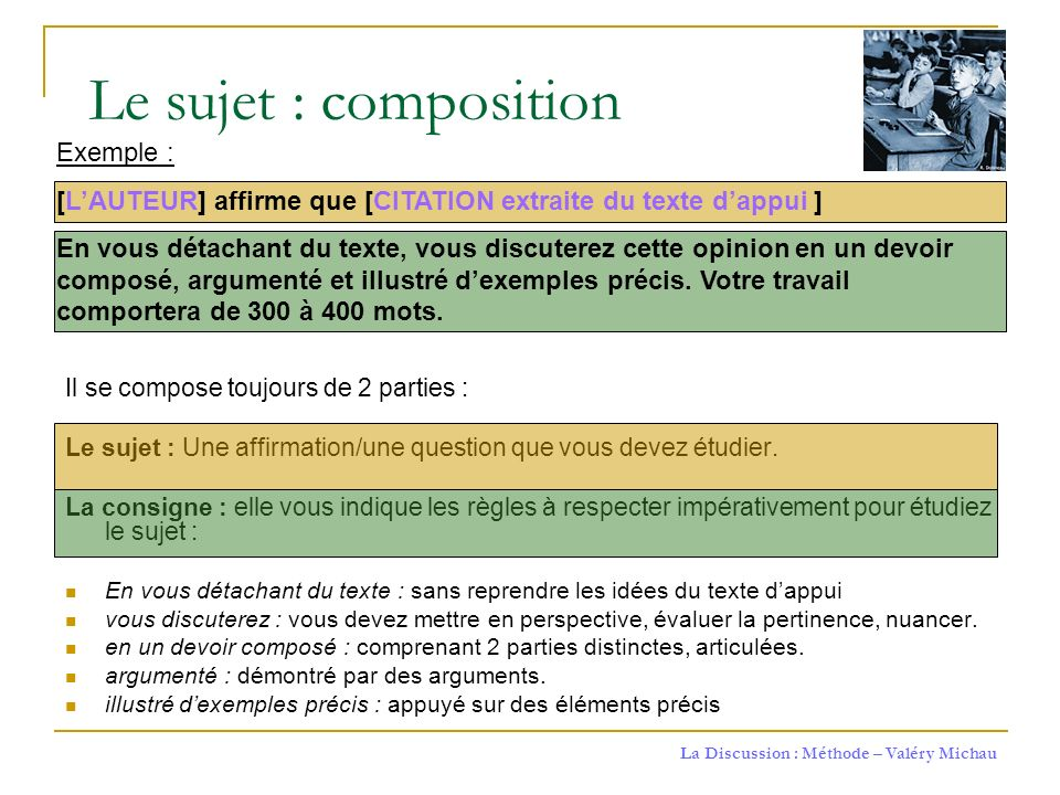 Le sujet : composition Exemple :