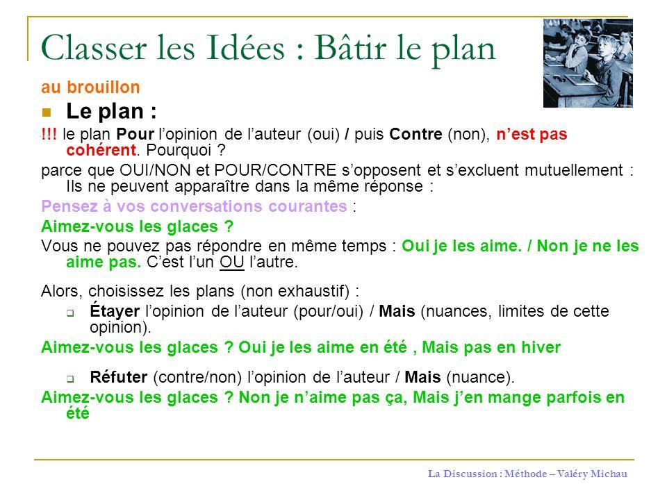 Classer les Idées : Bâtir le plan