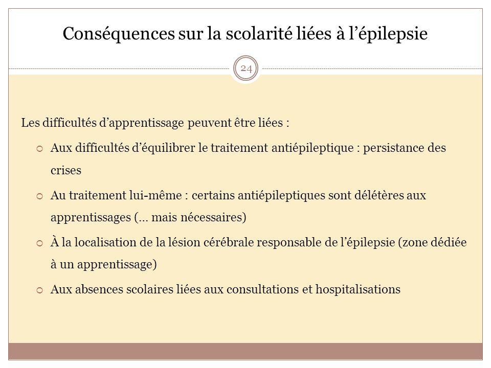 Conséquences sur la scolarité liées à l'épilepsie