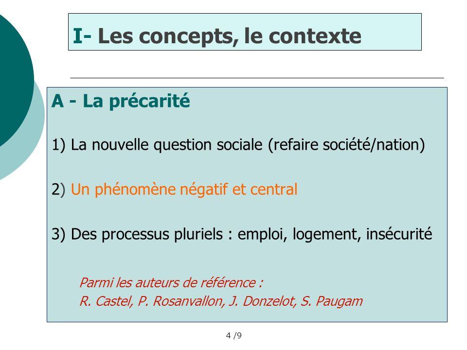 I- Les concepts, le contexte