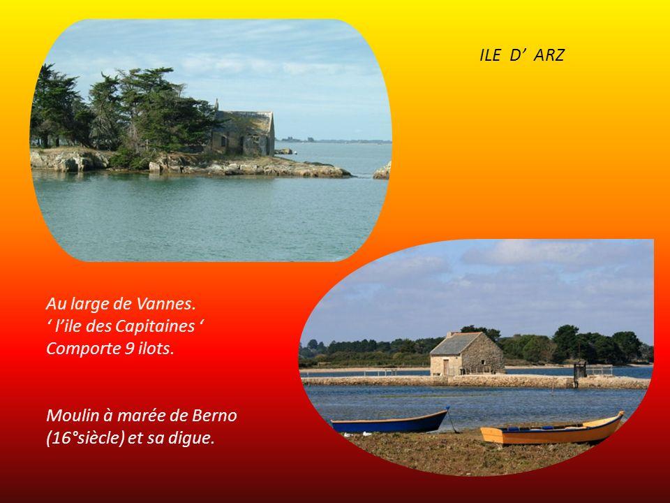 ILE D' ARZ Au large de Vannes. ' l'ile des Capitaines ' Comporte 9 ilots. Moulin à marée de Berno.