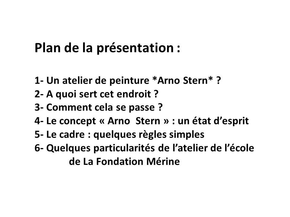 Plan de la présentation : 1- Un atelier de peinture. Arno Stern